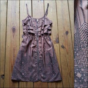 XS Mocha & Black Tribal Zip Front Mini Dress